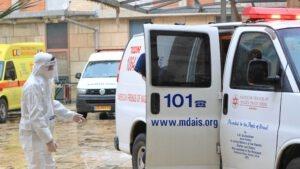 צוות האבטחה מלווה חולה מאומת מהאמבולנס למחלקה