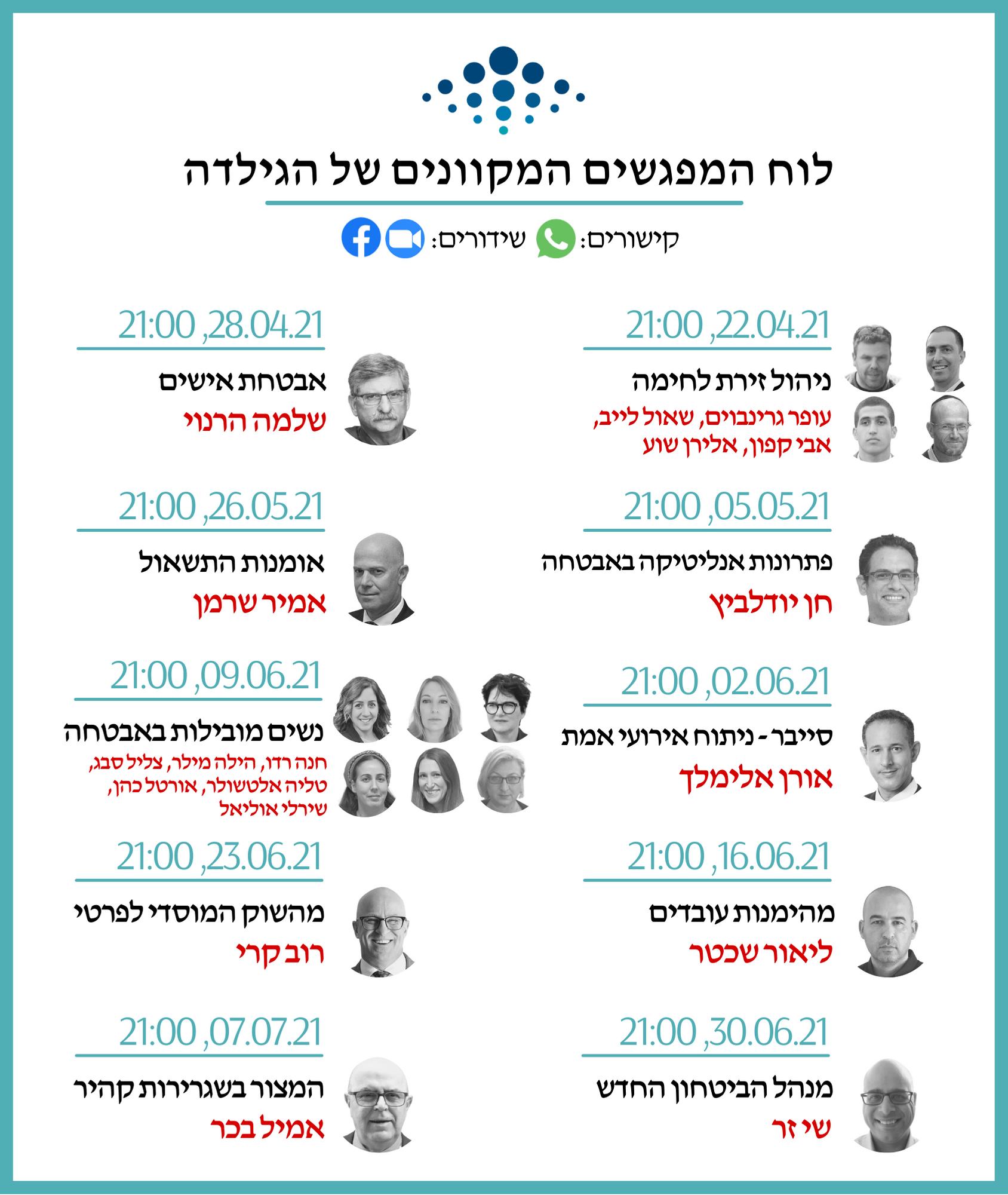 לוח המפגשים המקוונים של הגילדה - אפריל-יולי 21